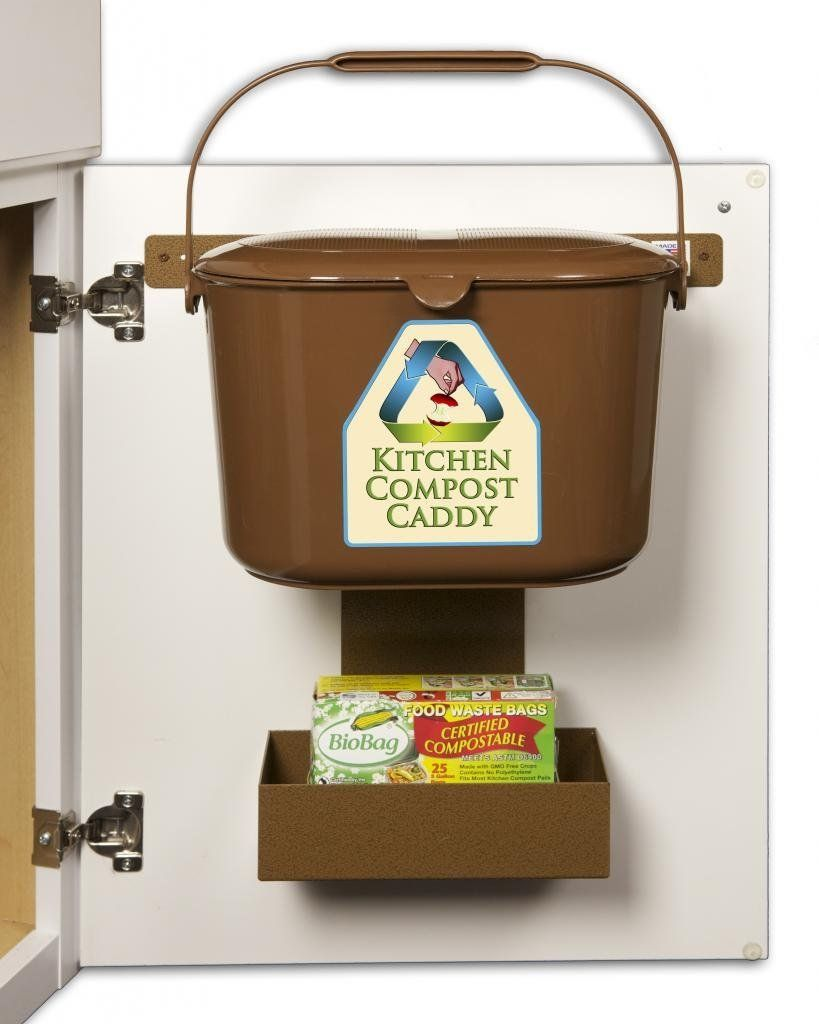 kitchen compost caddy under sink mounted compost system with compost bag storage