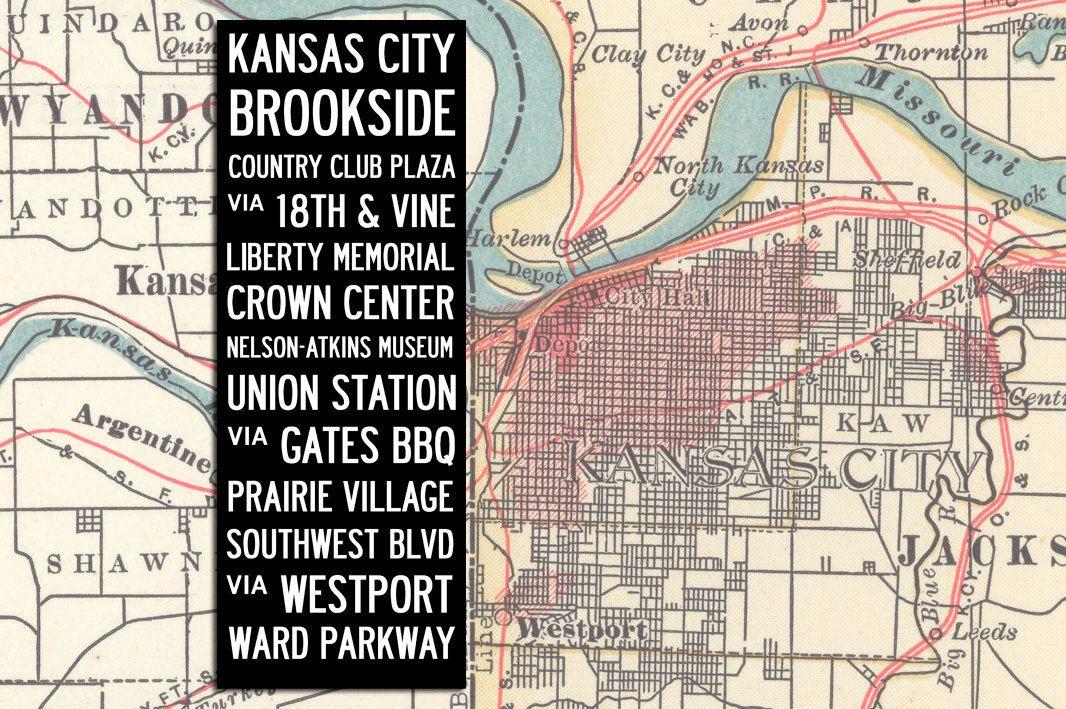 Large Vintage KANSAS CITY Bus Scroll, Subway Art, Tram Scroll - Hand on santa ana bus map, california bus map, st paul bus map, kansas city metro, osaka bus map, kansas city aquarium, brownsville bus map, stuttgart bus map, kansas city area casinos, kansas city ks, akron bus map, cleveland bus map, arizona bus map, st. louis bus map, kansas city zoo, south bend bus map, new haven bus map, greensboro bus map,