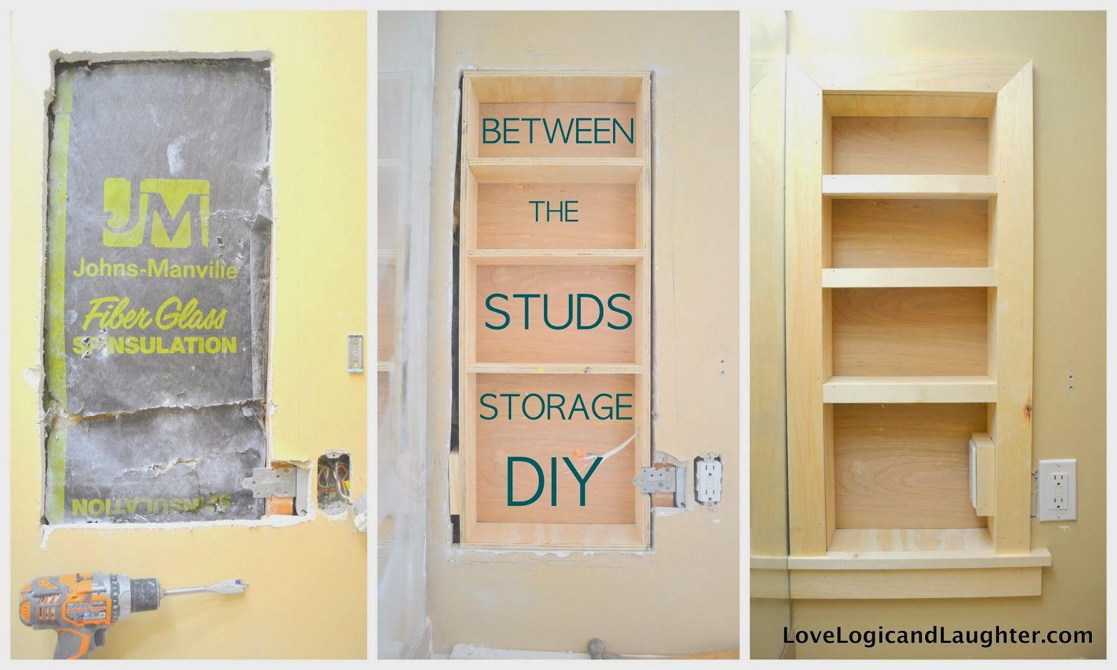 Built in bathroom wall storage - Between The Studs Storage A Tutorialusing Stair Tread Nosing As Finishing Trim On Built In Shelvesbetween The Studs Storage Adding More Storage To The