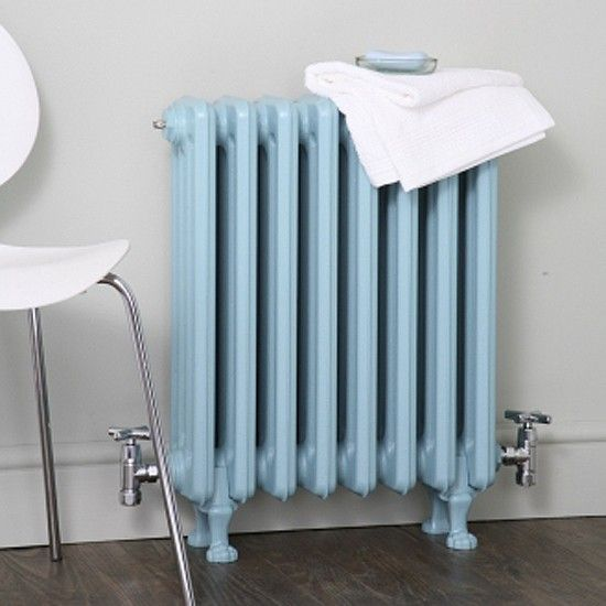 Icy blue vintage radiator- the radiators in my childhood bedroom were  uncovered could get quite hot.
