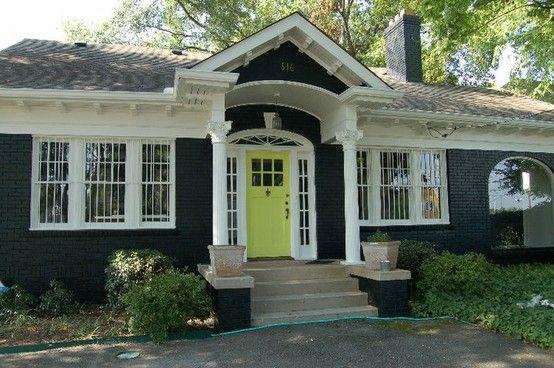 Lime Green Door Dark Exterior By Lelia Ranch House Exterior