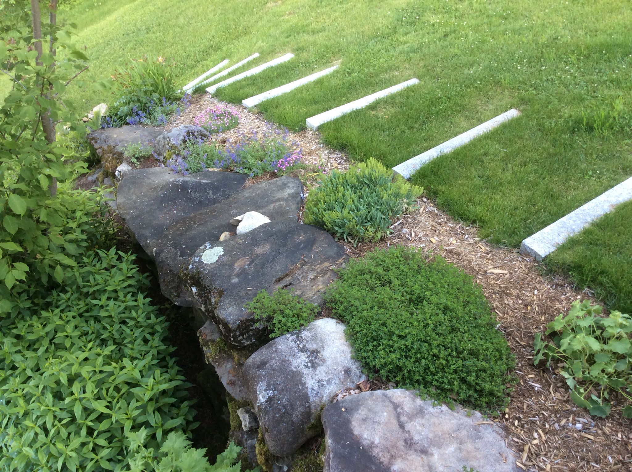 Lawn Steps Made With Granite Standing Stones, Next To Expanded