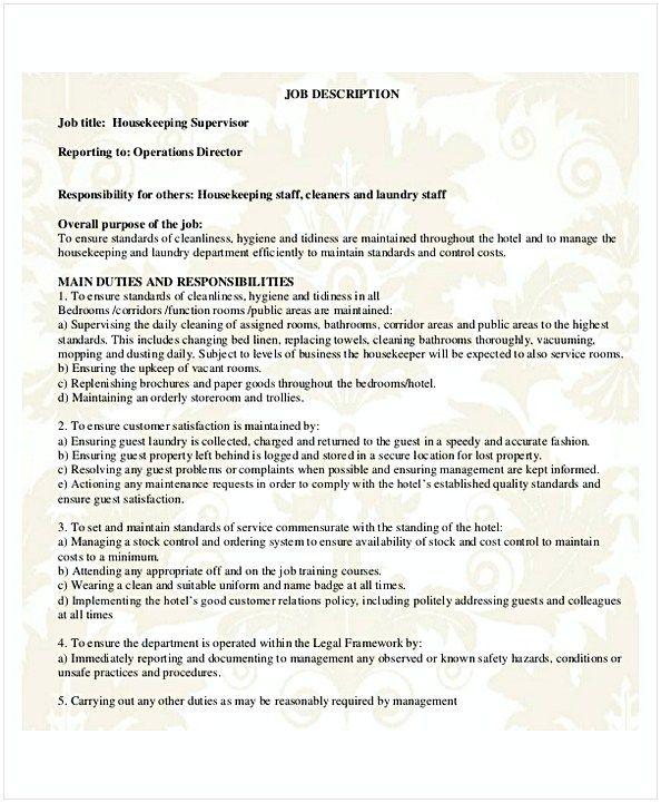 Housekeeping Supervisor Resume Hotel And Restaurant Management