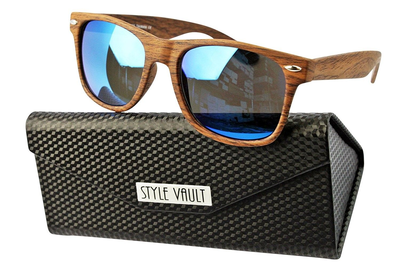 f27ec477f635c W1000-ec 80s wayfarer Wood Print Sunglasses - S1982v Woody Brown-blue  Mirror W  Case - CR120OTYYK5-Men s Sunglasses