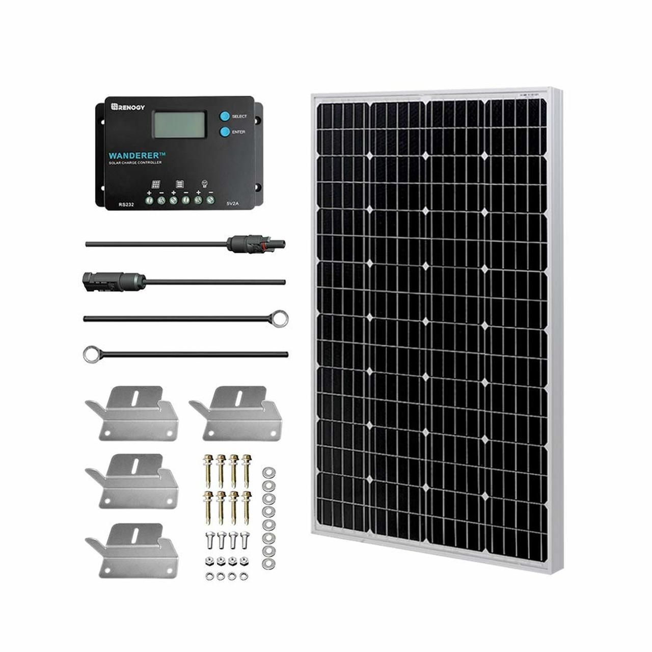 Windynation 100 Watt 12 Volt Off Grid Polycrystalline Solar Starter Kit With Lcd Charge Controller Sok 100wp P30l The Home Depot In 2020 Solar Kit Rv Solar Solar Panels