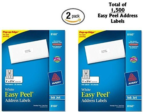 2x avery easy peel address labels inkjet printers white 1 x 2 5 8