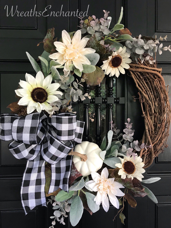 Excited To Share This Item From My Etsy Shop Fall Farmhouse Wreath Neutral Color Wreath Sunflower Door Wreath Free Ship Wreath Decor Wreaths Farmhouse Wreath