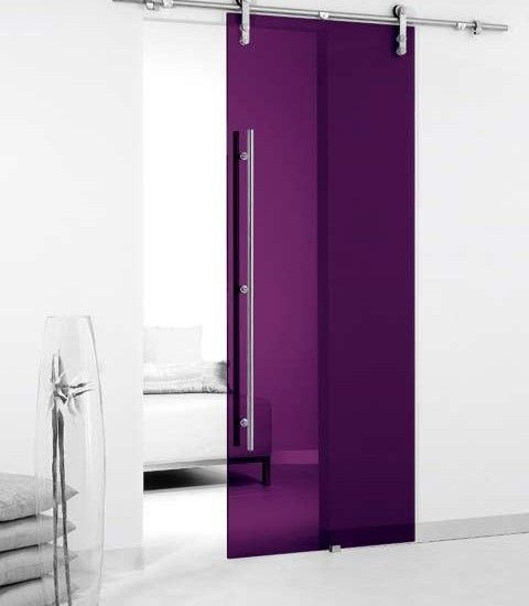 Modern Design Colored Glass Barn Sliding Door. That's gorgeous! (like the barn door idea, but not the see through part)
