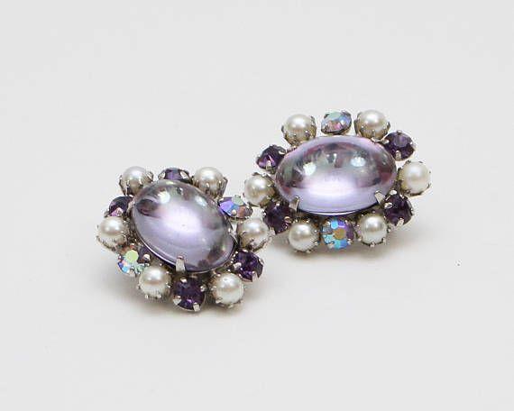 Sherman Lavender And Pearl Clip Earrings Vintage Purple Cabochon Rhinestone