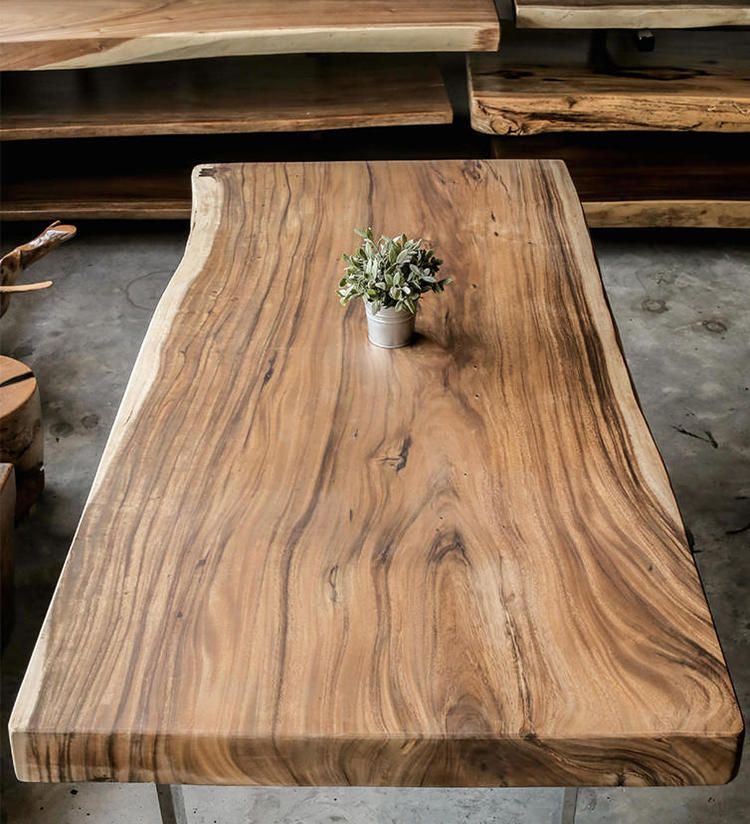 Rustic Slab Wood Coffee Table Bench: The Signature Series // Wood Slab Dining Tables