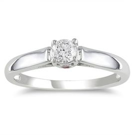 #searswishlist Diamore™ 14K White Gold Pink Sapphire and Diamond Solitaire Ring | Sears Canada #SearsWishlist