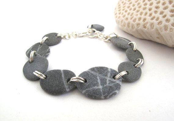 Photo of Beach Pebble Bracelet Natural Stone Jewelry STARY Handmade Mediterranean Beach Stone River Stone Jewelry Silver Matt Gray