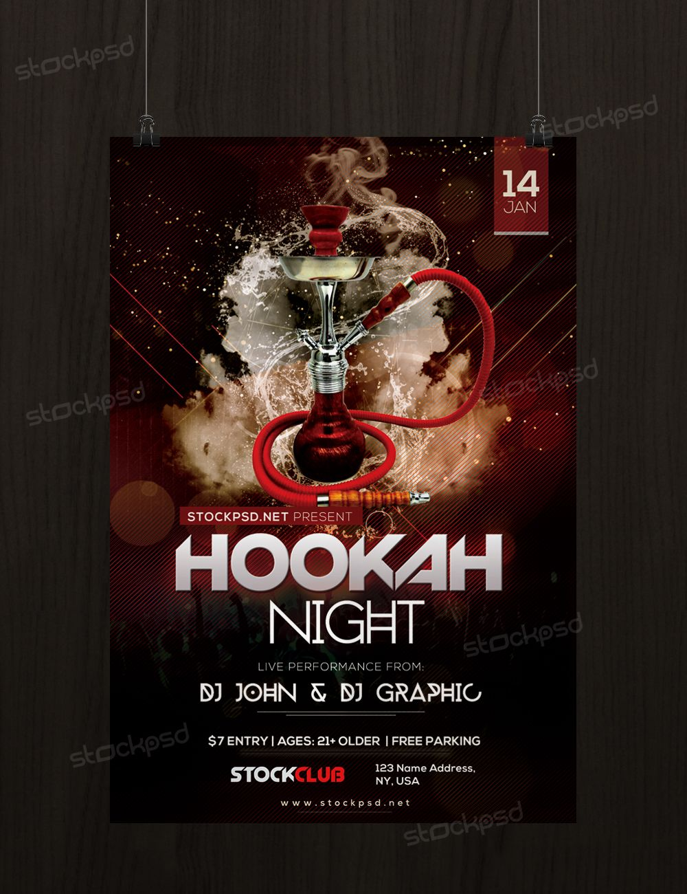 Hookah Night Free Psd Flyer Template Hookah Pinterest Free