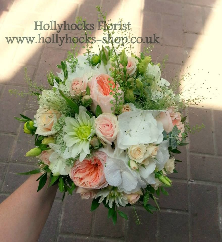 Wedding Hand Tied Bouquet In Peach And Ivory, Including