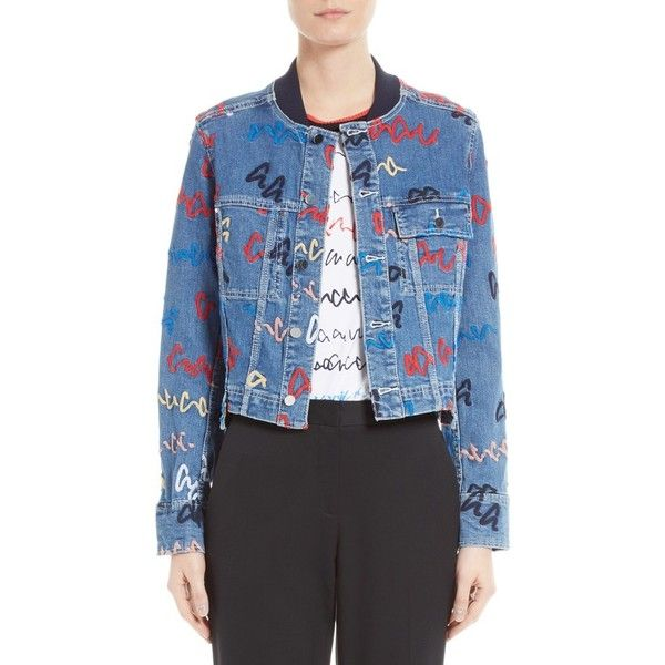 Women's Grey Jason Wu Scribble Embroidered Denim Jacket ($297) ❤ liked on Polyvore featuring outerwear, jackets, denim, embroidered jacket, blue denim jacket, embroidered denim jacket, denim jacket and blue jackets
