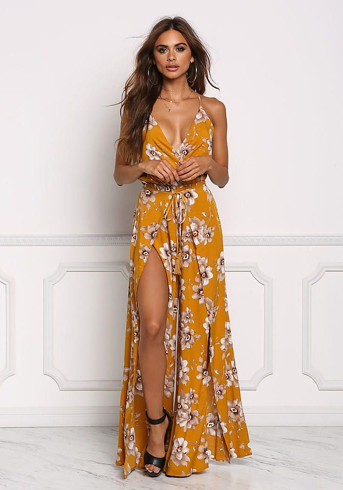 99ae32b139 Mustard Floral Double Slit Wrap Jumpsuit - Jumpsuits & Rompers - Clothes