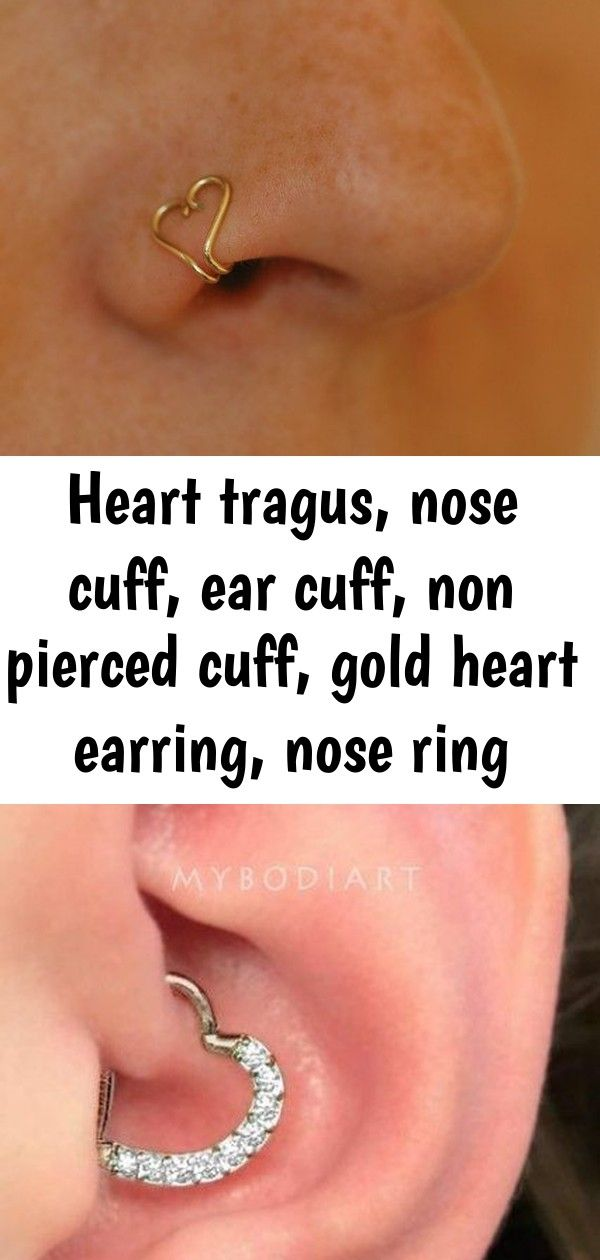 Heart tragus, nose cuff, ear cuff, non pierced cuff, gold heart earring, nose ring #doublenosepiercing