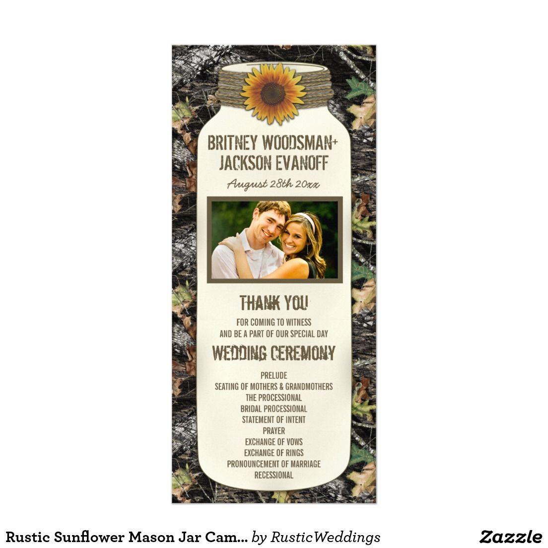 WEDDING PROGRAM PHOTO Rustic Chic Sunflower Mason Jar Camo ...