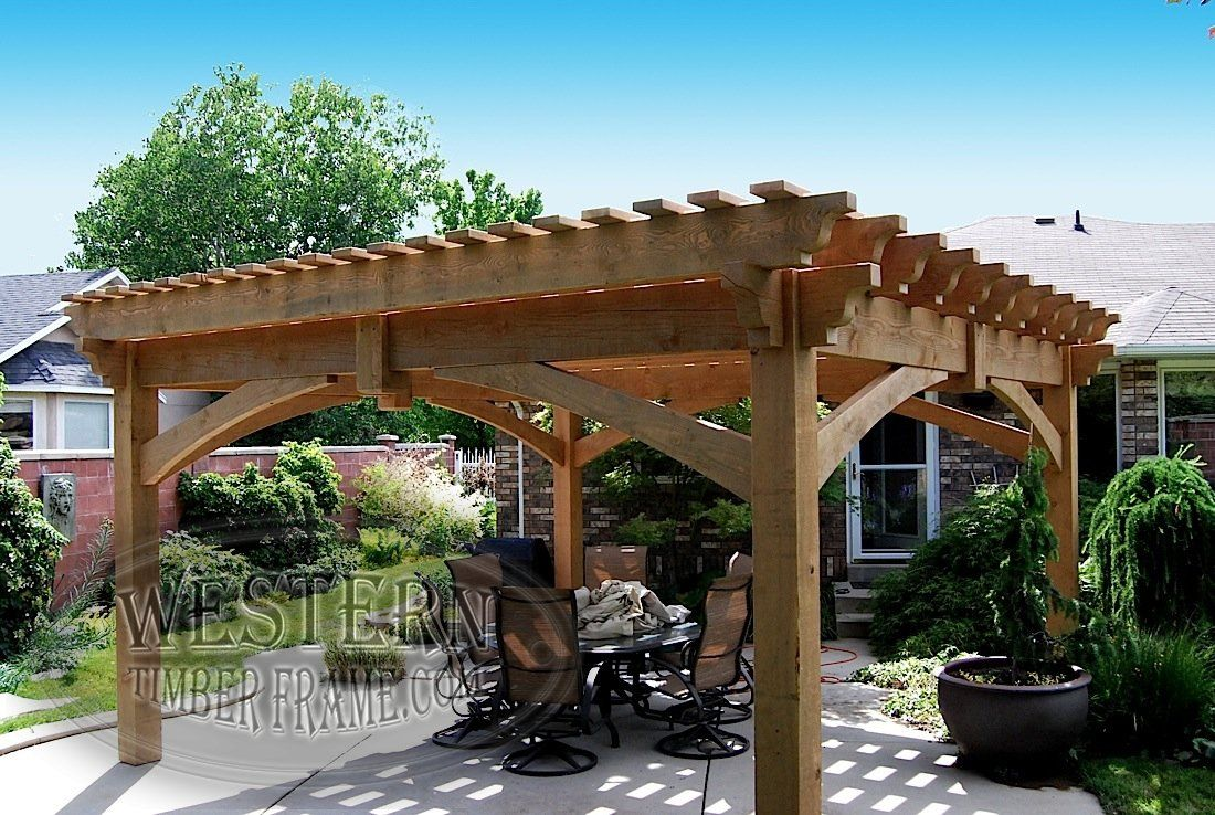 free standing pergola with natural stain and champion profile