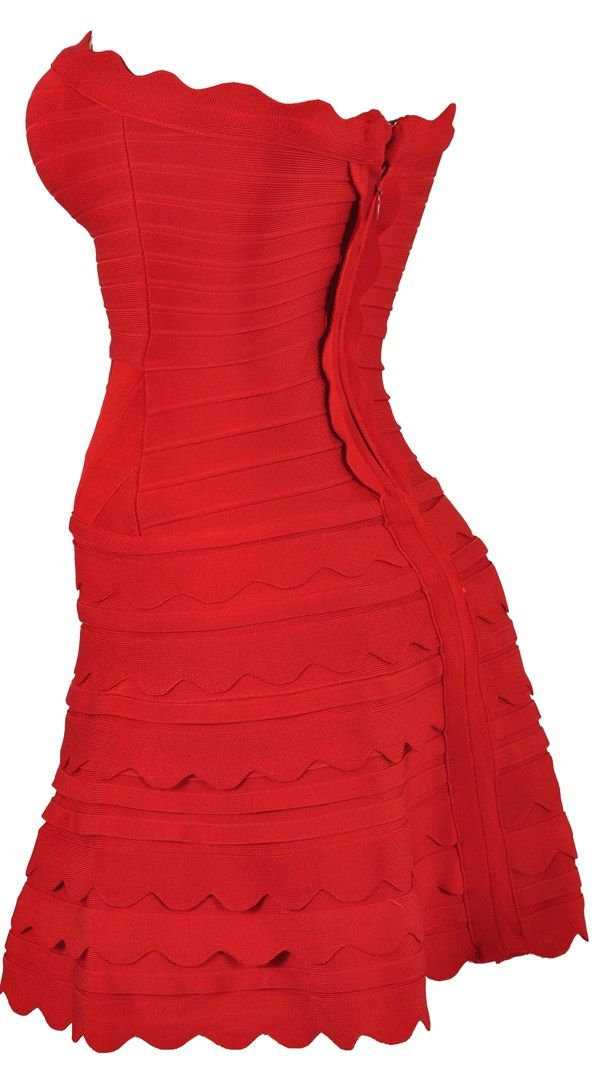 Clothing : Bandage Dresses : 'Jaida' Red Bandage Strapless Skater ...