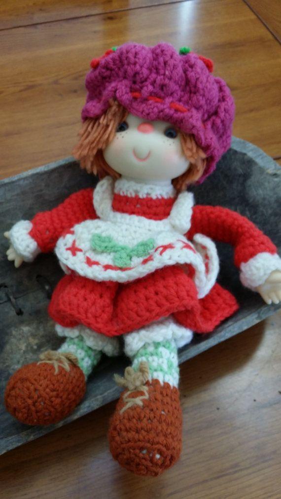 Vintage Handmade Crocheted Strawberry Shortcake Doll By Maliasmark