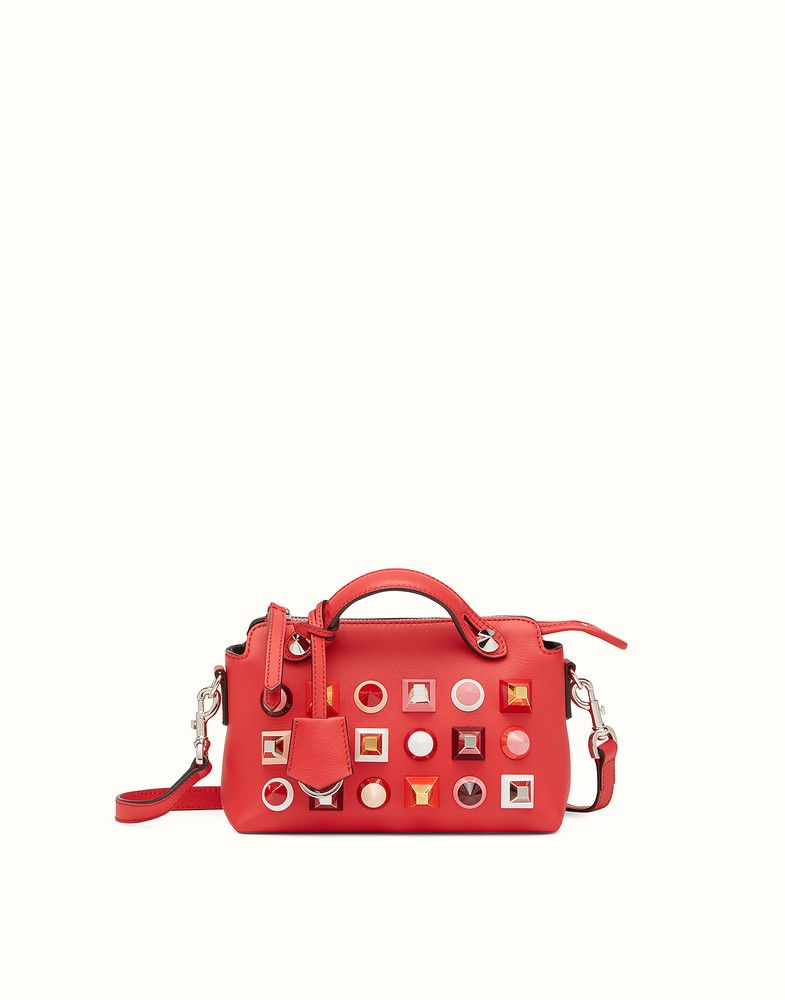 7eedd3a604ee FENDI MINI BY THE WAY - red leather Boston bag - view 1 detail ...