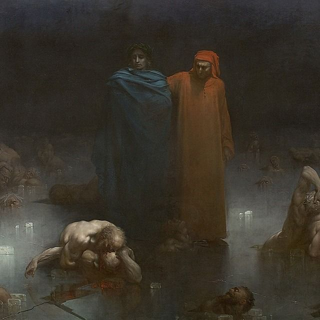 Dante and Virgil in the Ninth Circle of Hell Oil on canvas (detail) Gustave Doré - 1861