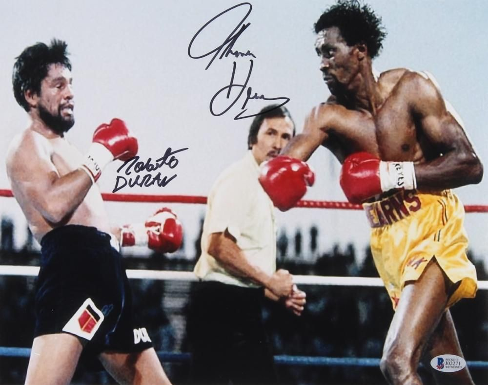 Tommy Hearns Roberto Duran Signed 11x14 Photo Beckett Coa Roberto Duran Boxing Images Boxing Posters