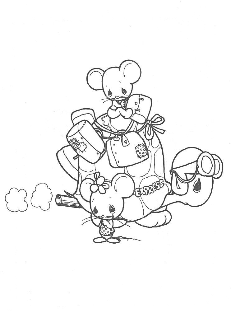 precious moments animals coloring pages  two mice riding