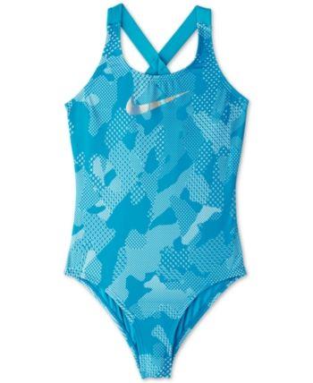 57915b348535a Nike Big Girls 1-Pc. Optic Camo Crossback Swimsuit - Blue XL (18/20)
