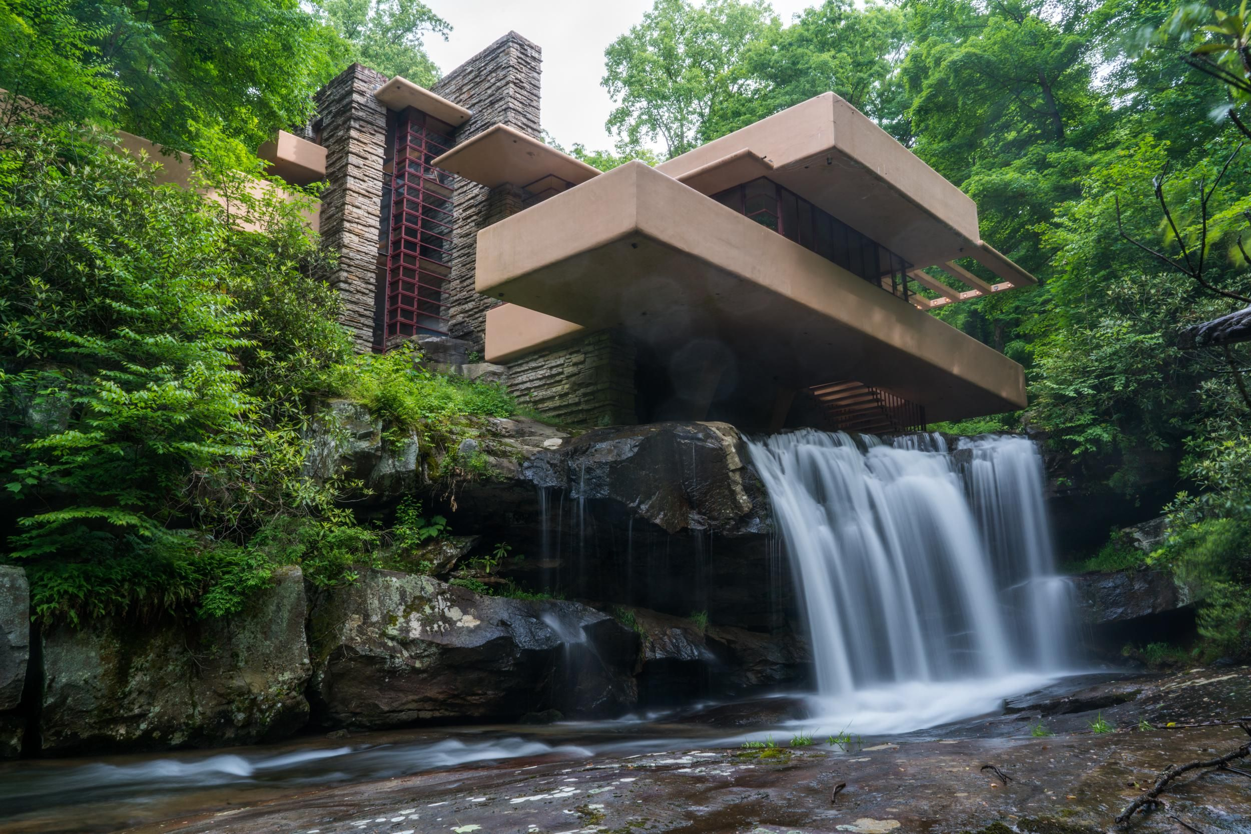 Fallingwater Viewed From Under The Waterfall Building Oc Architecture Waterfall Building Waterfall Fallingwater