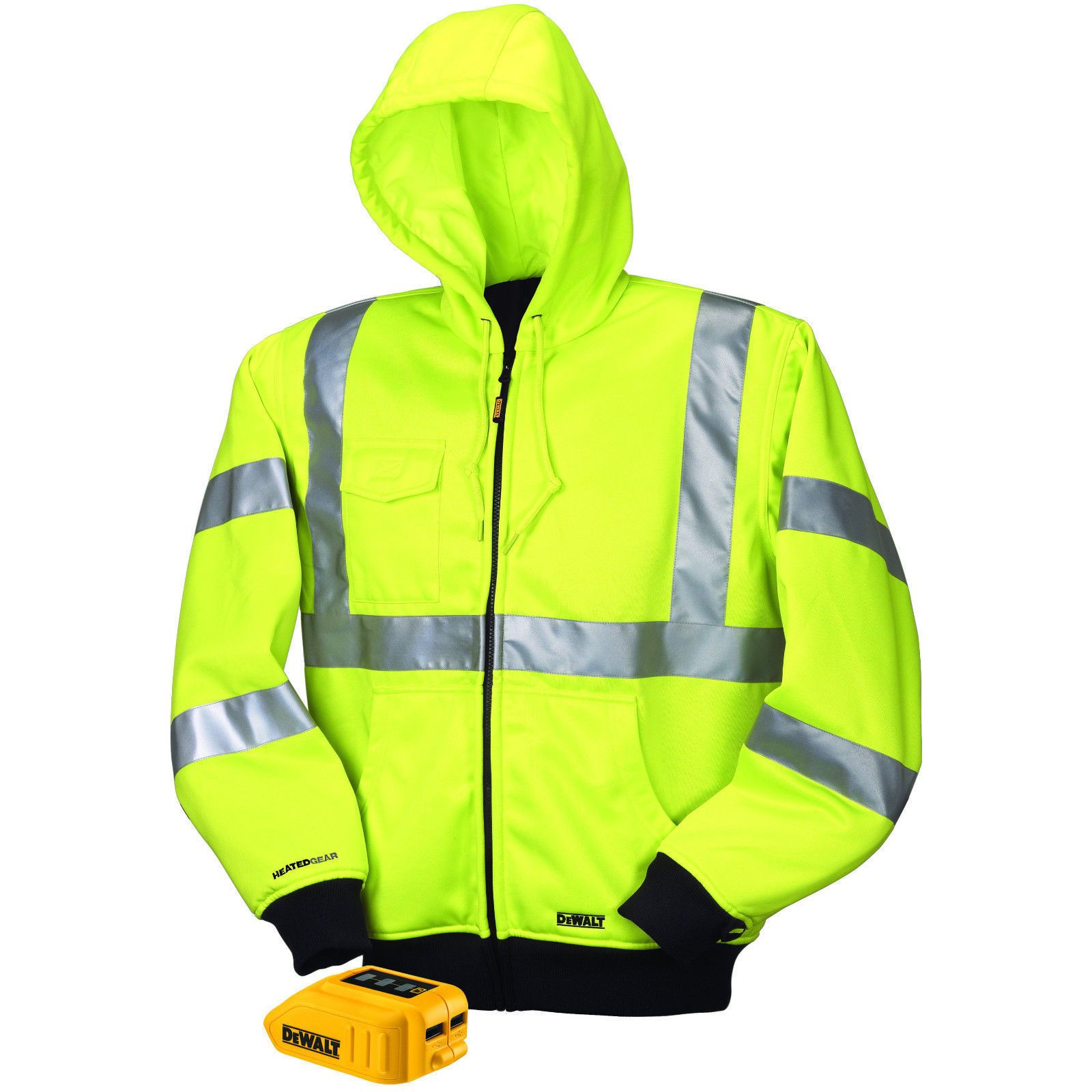 Dewalt Dchj071 Heated High Visibility Class 3 Hoodie Jacket Outdoor Work Hi Viz Drawstring Hoodie Heated Jacket Versatile Jackets