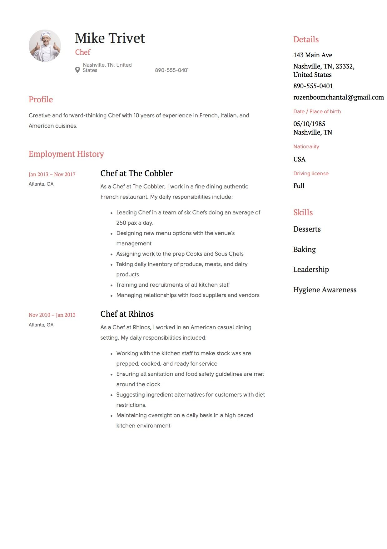 Chef Resume, template, design, tips, examples, free