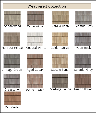 Weathered Vinyl Shakes In Straw Color Is Our Choice For