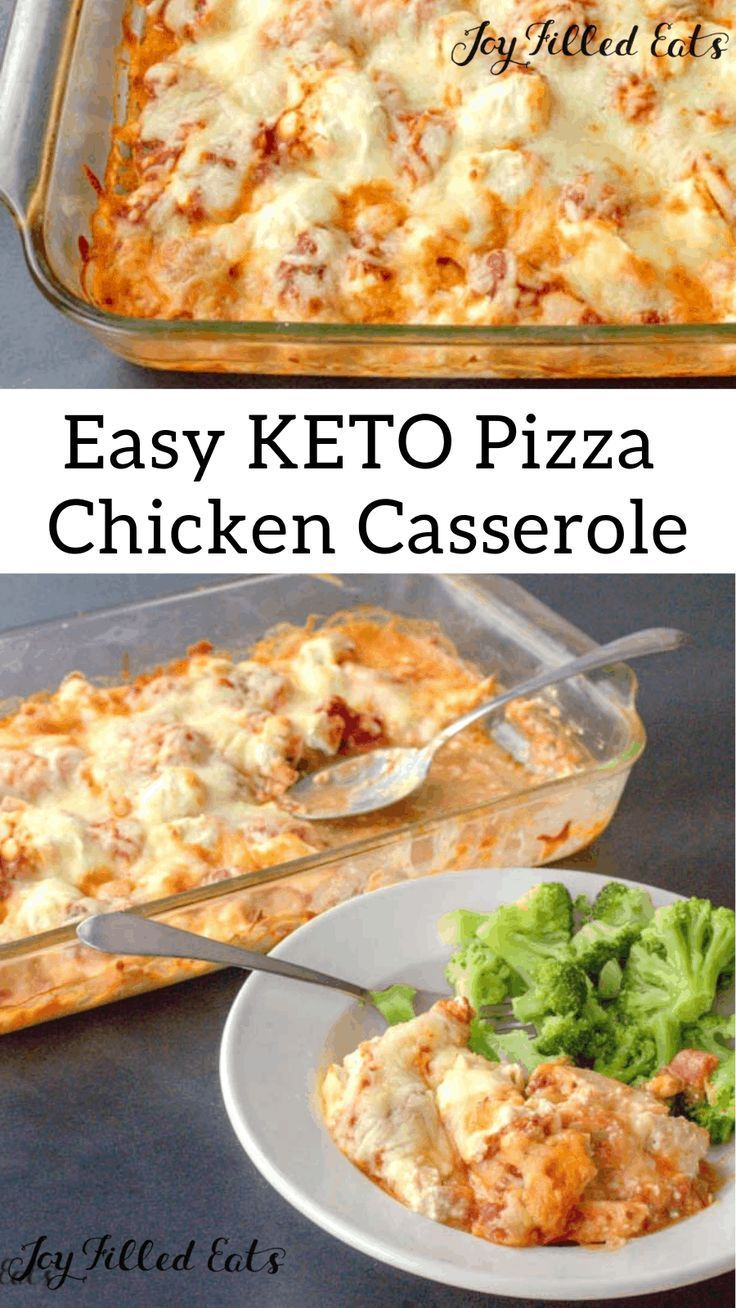 Keto Pizza Casserole - 5 Ingredients, Low Carb, Keto, Grain-Free, Gluten-Free, THM S - This combines the flavors of creamy casseroles with pizza and the flavors of chicken parmesan. It is one of our favorite easy dinners. Give my Pizza Chicken Casserole a try. I'm sure your family will love it too!