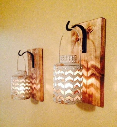 Rustic Gray Lantern Wall Decor Bathroom Sconce Hanging
