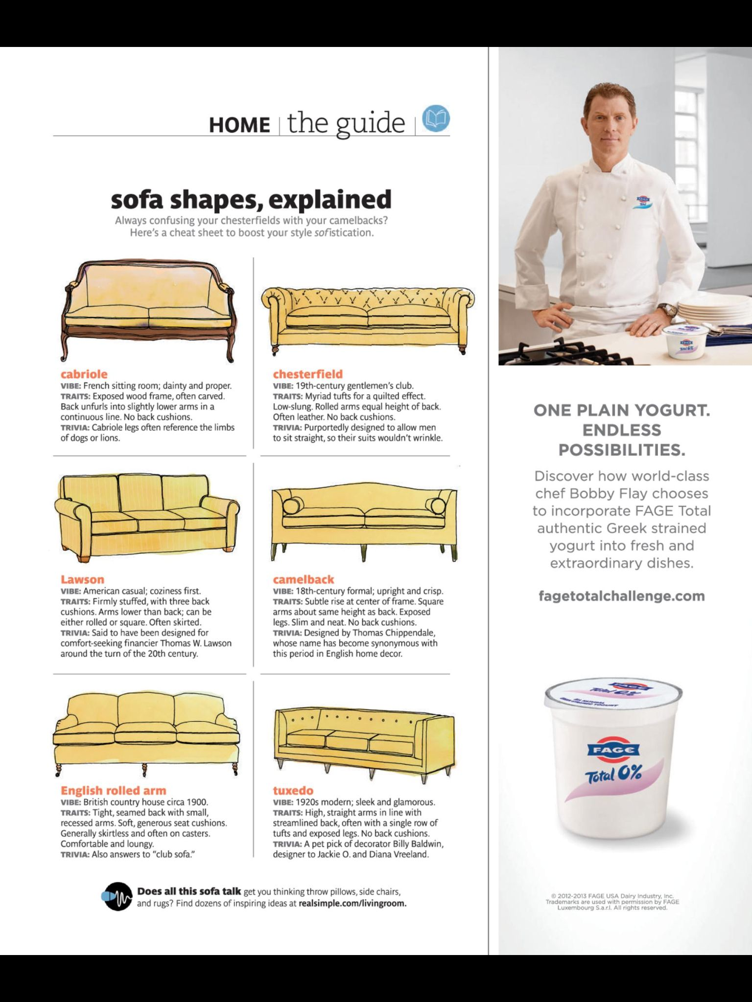 Sofa Shapes Explained Real Simple Magazine August Images Chef Bobby Flay