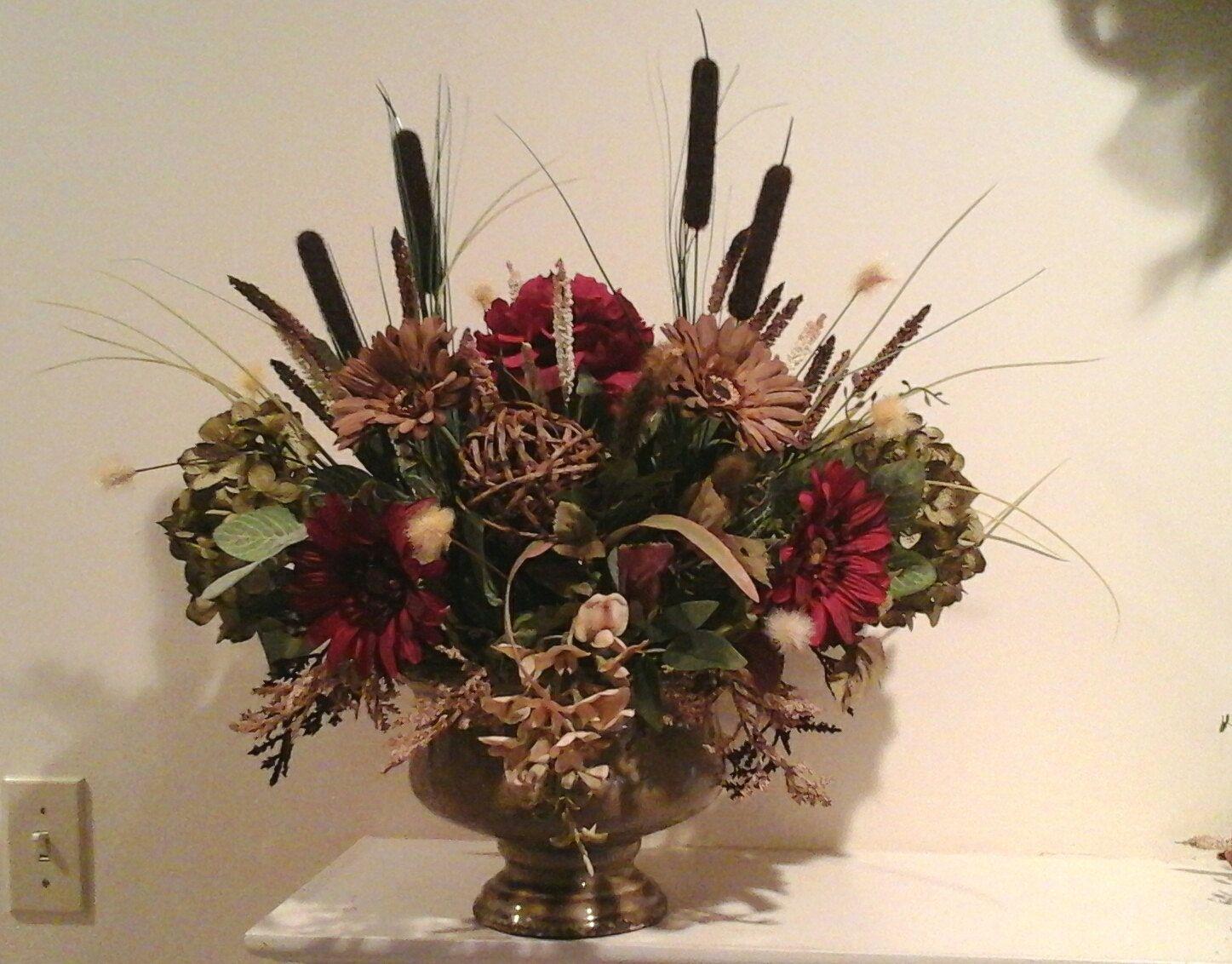 Floral Arrangement Formal Large Silk Centerpiece SHIPPING INCLUDED Elegant Designer Dining