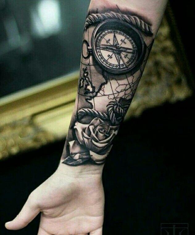 Tatuagem rosa Tatuagem mapa Tatuagem bussola Tattoo rose ...