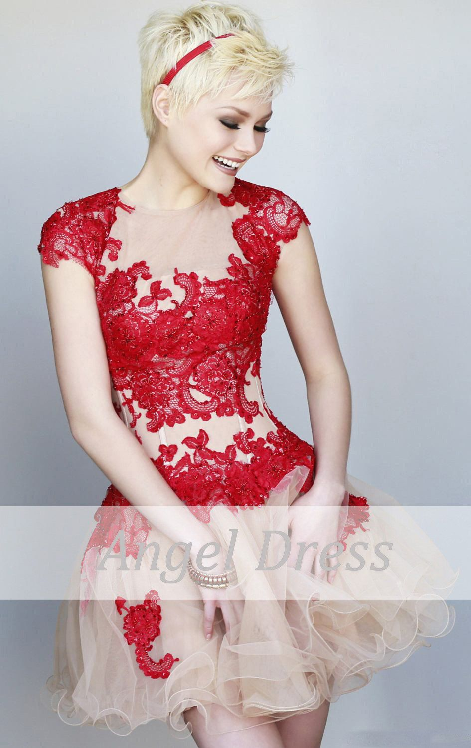 Short prom dress lace prom dressshort red by