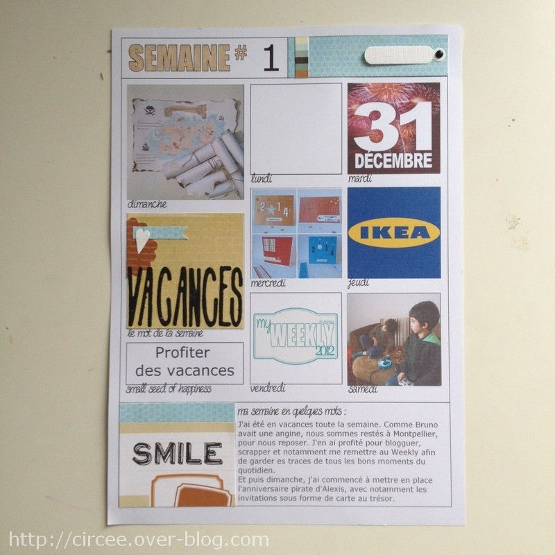 My Weekly 2014 Semaine 01 Pages De Scrapbooking Creations Carterie