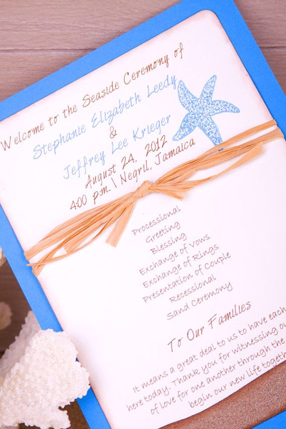 Starfish Beach Wedding Program Fan Style By Fromtheheartinvites