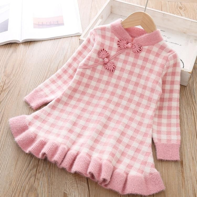 Photo of Baby girl clothes rabbit fur knit sweater dress Chinese style retro cheongsam dress baby girl dress thick warm dress lace