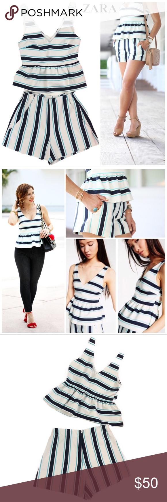 8e7d4e0b16 Zara two piece striped peplum top & shorts set M This adorable Zara striped  two piece peplum top & shorts set is as cute as it is versatile- pair with  ...