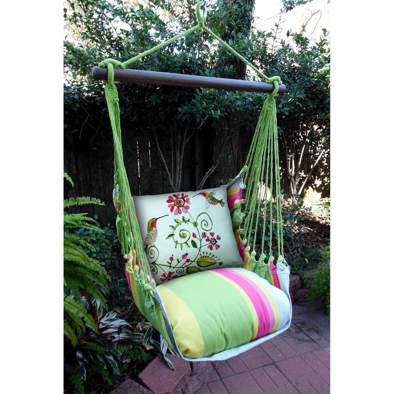 Outdoor Magnolia Casual Hummingbirds Hammock Chair Pillow Set