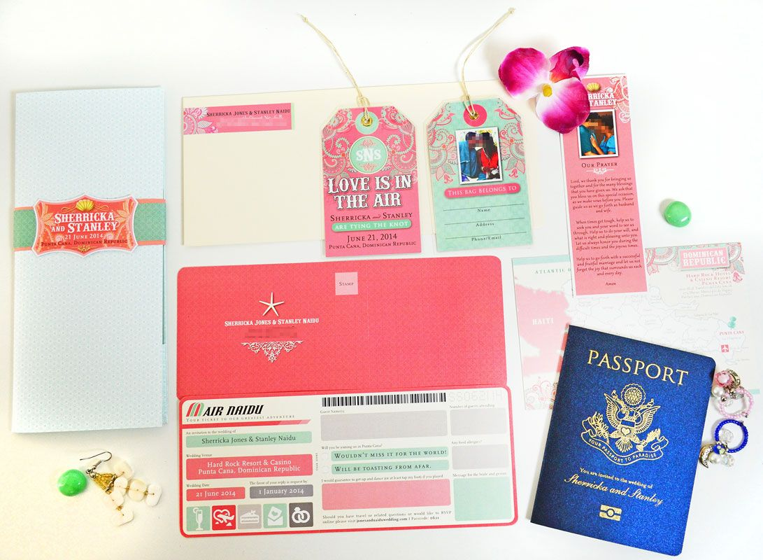 Passport and Boarding Pass Invitation for a Destination Wedding in ...