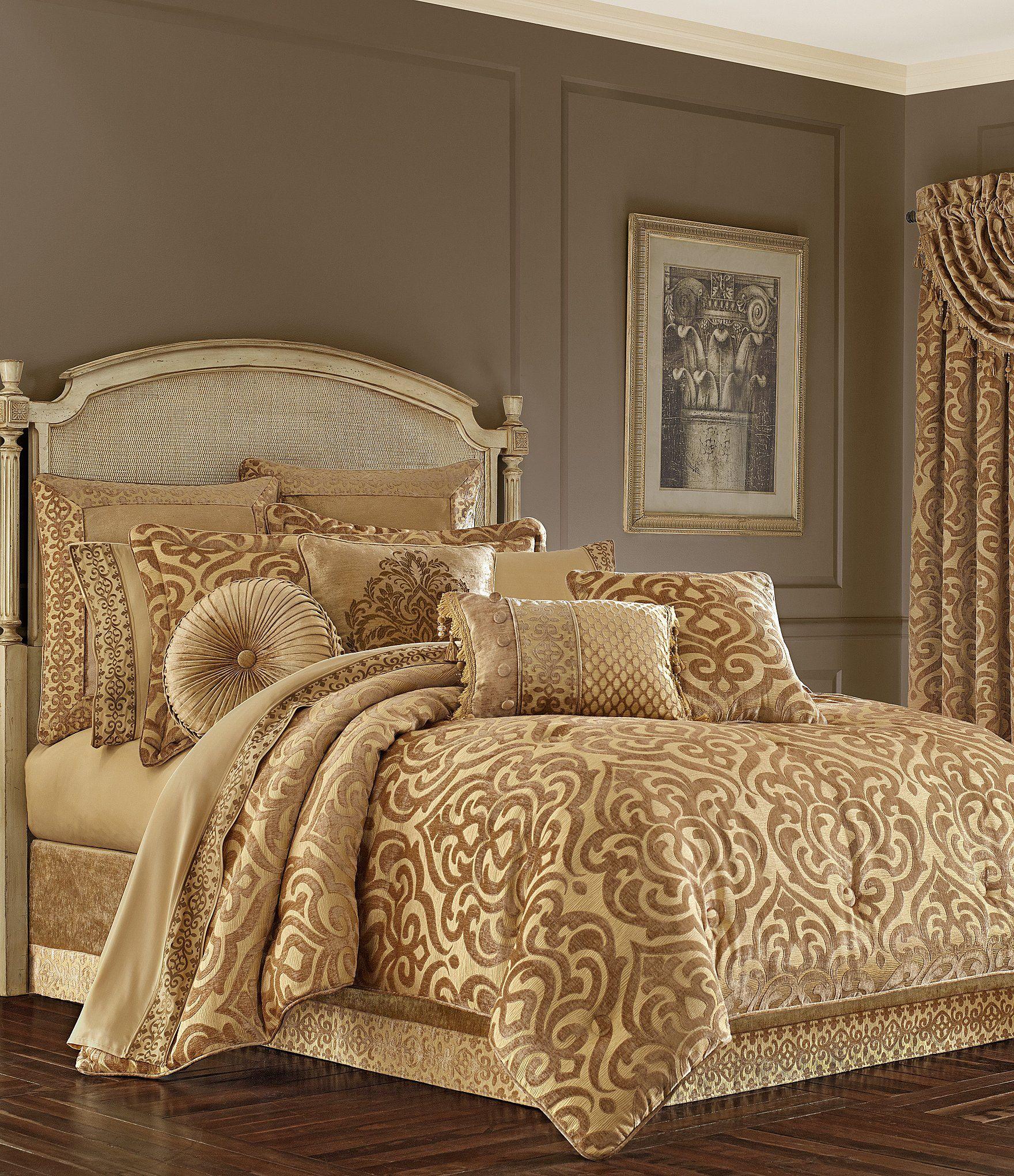 J. Queen New York Siciliy Gold Damask Chenille Comforter