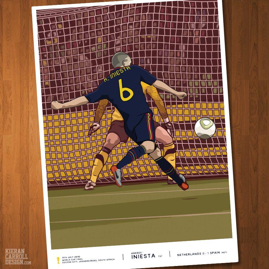 Andres Iniesta Spain World Cup Final 2010 Kieran Carroll Design Iniesta World Cup Final Andres Iniesta
