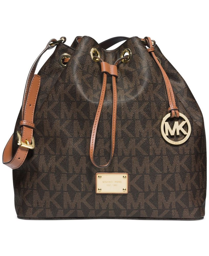 7255f58008c9 Michael Kors Signature Jules Large Convertible Shoulder Bucket Bag Brown  NWT  MichaelKors  ShoulderBag