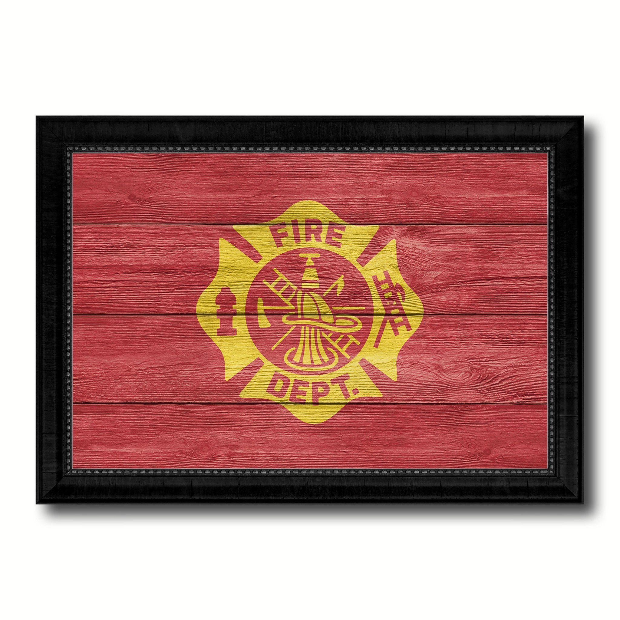 Fire Department Fire Fighter USA Flag Texture Canvas Print with ...